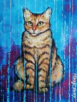 Original Painting on canvas The Gold Cat 40 X 60 Cm artist Lana Arkhi