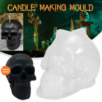 Halloween 3D Skull Soap Candle Mould Handmade Cake Silicone Mold DIY Craft