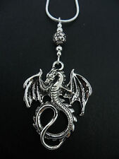 """A LOVELY TIBETAN SILVER  DRAGON THEMED  NECKLACE ON 18"""" SNAKE CHAIN. NEW."""