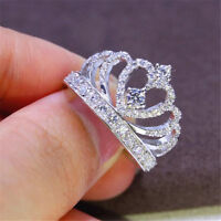 Fashion White Sapphire Crown Birthstone 925 Silver Wedding Bridal Ring Sz 6-10