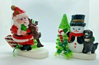 2 Vintage Christmas holiday Santa reindeer frosty snowman soft plastic blow mold