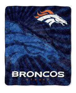 """NFL Denver Broncos 100% Super Soft Sherpa Throw Blanket Large 50"""" X 60"""""""