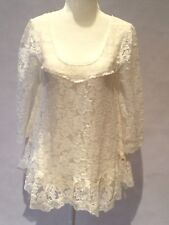 FREE PEOPLE LACE TOP IVORY CREAM HI LOW STYLE WIDE SLEEVE SIZE XS EUC