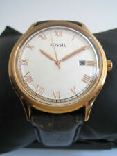 FOSSIL WATCH MENS FS4743 STAINLESS STEEL BROWN LEATHER GENUINE ANSEL