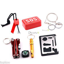 Hiking Camping Portable SOS Survival Gear Emergency Equipment Supplies Kits