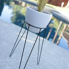 "21"" MED MODERN HAIRPIN BASE PLANTER & STAND - MID CENTURY EAMES ERA BULLET STYLE"