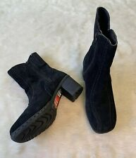 NWOB Hush Puppies Black Suede Stitched Heeled Ankle Boots Size 6