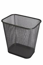 Steel Mesh Black Rectangular Open Top Waste Basket Bin Trash Can 8x12x12 1103