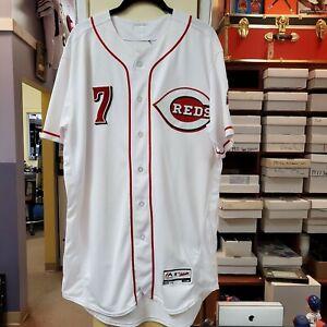 Game Used Majestic MLB Authenticated EUGENIO SUAREZ White Jersey Cincinnati Reds