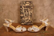 Vintage 1951 Hannahson's Silver Gold Metallic Pumps Womans Shoes Size 65N