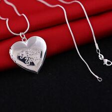 Schlangenkette 925 er silber mit Medaillon / Amulett zum öffnen Kette Herz Liebe