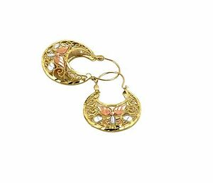 Real 10K Tri Color Gold Filigree Basket Hoop Earrings, Height 34mm, Width 24mm