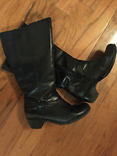 CLARKS Black Leather Tall Knee High Low Heels Boots Harness Bow 7.5 M