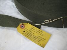 "Vintage 1951 US Canvas Webbing Belt 50mm 2"" Strap Korean War Era Roll Green Army"