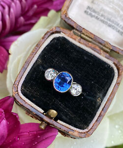 Sapphire and Diamond Three Stone Platinum Ring 0.65ct + 1.55ct
