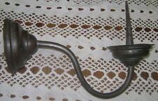 ANCIEN PIQUE CIERGE MURAL COL DE CYGNE D EGLISE LAITON PATINE BRUNE XIXème D1418