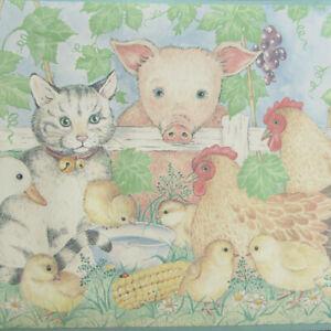 2 Rollen Tapetenbordüre Wandbordüre Borte Kinderzimmer Tiere Bauernhof BB5162B
