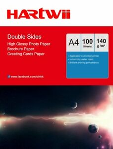 A4 140Gsm Double Sided Glossy Thin Photo Paper Inkjet Print- 100 Sheets Hartwii