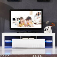 "63"" TV Stand High Gloss White Cabinet Console Furniture w/LED Shelves 2 Drawers"