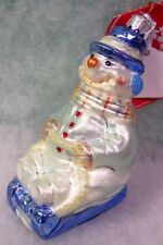 New Slavic Treasures Glass Ornament - Sled And Slide (Pastel) Snowman 2002