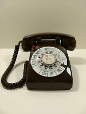 """Rare Vtg """"Midway Motor Lodge"""" Front Desk Rotary Dial Telephone Brown Red Light"""