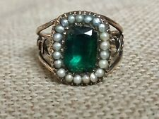 2ct Antique Georgian Natural Columbian Emerald & seed Pearl ring solid 9ct gold