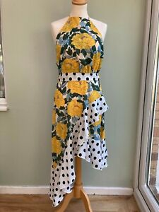 DRESS SIZE 8 BY FOREVER UNIQUE ASYMETRIC STYLE DEEP POLKA DOT FRILL FLORAL BNWT
