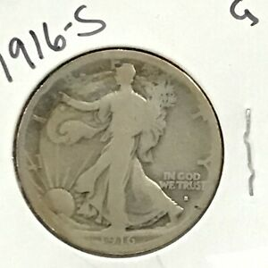 1916-S Walking Liberty Silver Half Dollar First Year Issue  E8927