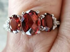 Garnet Oval Cut 3 Stones And Diamond Ring 10kt Solid White Gold