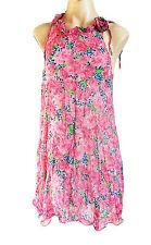 Señoras Pusycat London Rosa Multi Florak vestido de chifón M-UK Size 12/14