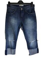 Ladies Blue ZARA Basic Denim Distressed Jeans - Size EUR 36 (UK 6/8 Approx)