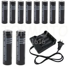10x 18650 Rechargeable Battery + Charger LI-ION Flashlight Protected AU stock