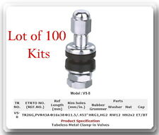 "100 Kit VS-8 Chrome Tire Valve Stem for Holes Φ11.5 mm /.453"" Fits: Motorcycle"
