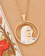 "Virgin Mary Religious Pendant, Hand Cut Religious Metal 7/8"" Diameter, ( # 527 )"