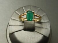 Vintage Estate 14K Yellow Gold Over 1.00Ct Emerald Cut Emerald Solitaire Ring
