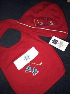 Baby Gap 2 Piece Boy Girl Unisex Red Hat Bib Set Ski Skiing Skis Winter NEW NWT