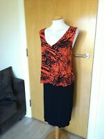 Ladies GEORGE Dress Size 18 Orange Black Stretch Jersey Overlay Smart Casual Day