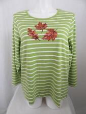 Quacker Factory Size 2X Green Stripe Sequin Leaves Long Sleeve T-Shirt