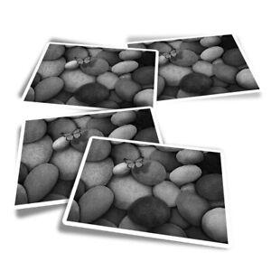 4x Rectangle Stickers - BW - Pebbles Beach Seaside  #41635