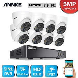 ANNKE H.265+ Ultra HD 5MP 8CH DVR 5MP PIR Motion Outdoor Security Camera System