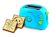 Toaster 2 Scheiben mit Bild Muster und Timer, Sandwich Krümelschublade, blau neu