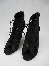 "Ladies Black Suede 4.5"" Heel open toe boot by Atmosphere Women's UK Size 6 Eu 39"