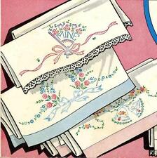 Vintage Embroidery 229 Wedding Bells Fans His Hers Yours Mine for Pillow Cases