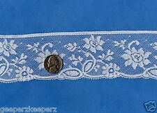 "French Val Lace Edge Trim 2""w  COTTON Floral WHITE Dolls/ Bears/ Fine Sewing BTY"