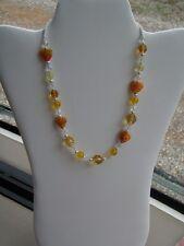 Clear and Yellow Czech Glass Beads Handmade Necklace w/ Orange Millefiori Hearts