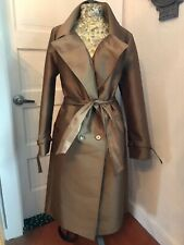 Designer MaxMara Double Breasted Copper Trench Coat Size M/L Made In Italy