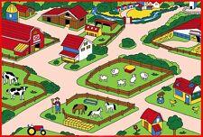 """FARM Children Area Rug 39"""" x 58"""" Non Slip Bottom"""