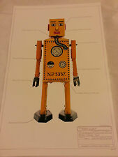 "PRINT #9 Robot Japan classic tin space 17""x11"" ray gun Lilliput 1939 MINT"