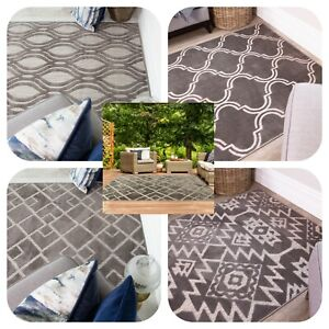 Grey Flatweave Rugs for Indoor Outdoor Robust Long Lasting Stone Geometric Mats