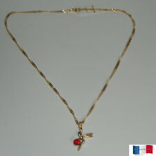 COLLIER PLAQUE OR FEE PERLE ROUGE NEUF